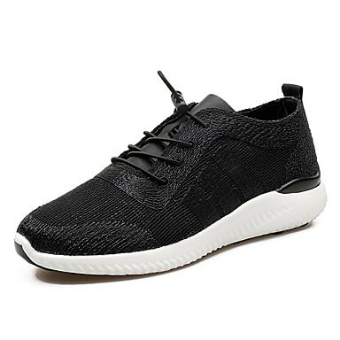 Homens sapatos Tule Primavera / Outono Conforto Tênis Caminhada Preto / Prata / Azul Escuro