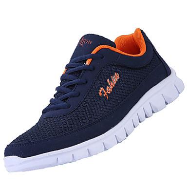 Homens sapatos Couro Ecológico Primavera / Verão Conforto Tênis Caminhada Preto / Cinzento / Azul