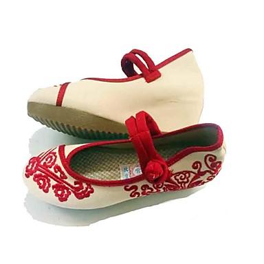 Mulheres Sapatos Tecido Primavera Outono Conforto Rasos Salto Plataforma Ponta Redonda Presilha Rendado para Casual Social Vermelho Azul