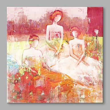 Pintados à mão Pessoas Quadrada, Artistíco Abstracto Moderno/Contemporâneo Tela de pintura Pintura a Óleo Decoração para casa 1 Painel