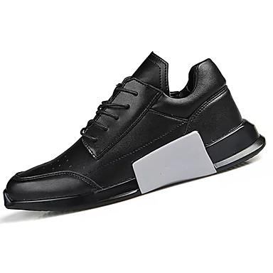 Miesten kengät PU Kevät Syksy Comfort Urheilukengät varten Kausaliteetti Valkoinen Musta Musta/valkoinen