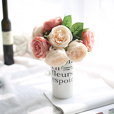1 Ramo Poliéster Rosas Flor de Mesa Flores artificiais