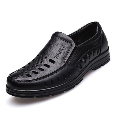 Miehet Kengät Nahka Kesä Comfort Mokkasiinit Tasapohja Käyttötarkoitus Kausaliteetti Musta Ruskea