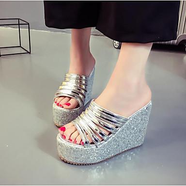 Damen Sandalen Fersenriemen Sommer PU Normal Gold Schwarz Silber 2,5 - 4,5 cm