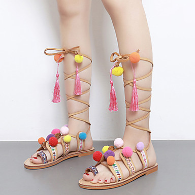 Naiset Kengät PU Kesä Sandaalit Tasapohja Avokkaat POM-POM Käyttötarkoitus Vaalean ruskea