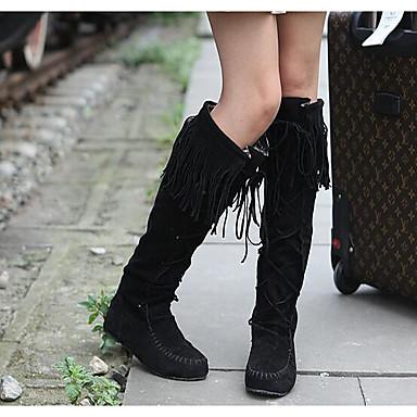 Naiset Bootsit Comfort Kevät Nupukkinahka PU Kausaliteetti Musta Kahvi Ruskea Tasapohja