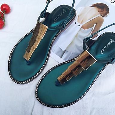 Naiset Sandaalit Comfort PU Kevät Kausaliteetti Comfort Musta Vihreä Tasapohja
