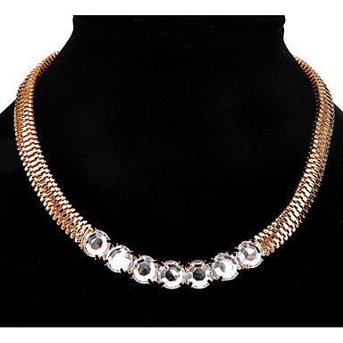 levne Dámské šperky-Dámské Syntetický diamant Náhrdelníky s přívěšky Prohlášení Náhrdelníky Jeden pruh Přátelé Prohlášení Přizpůsobeno Luxus Jedinečný design Štras Slitina Zlatá Náhrdelníky Šperky Pro Vánoční dárky