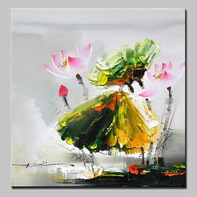 Pintura a Óleo Pintados à mão - Floral / Botânico Flor / Moderno / Contemporâneo Tela de pintura
