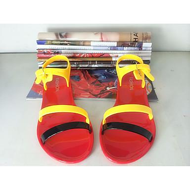 Damen Schuhe PU Frühling Komfort Sandalen Für Normal Schwarz Orange Rot Blau