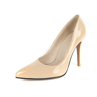 Mulheres Sapatos Courino Primavera Verão Saltos Caminhada Salto Agulha Dedo Apontado Presilha para Preto Vermelho Amêndoa