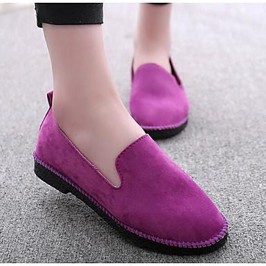 Naiset Kengät Mokkanahka Kevät Comfort Mokkasiinit Käyttötarkoitus Kausaliteetti Musta Harmaa Purppura