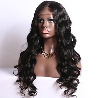 Echthaar Vollspitze Perücke Große Wellen 130% Dichte 100 % von Hand geknüpft Afro-amerikanische Perücke Natürlicher Haaransatz Medium Lang