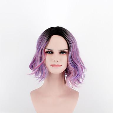 Perucas sintéticas Ondulado Rosa Cabelo Sintético Repartido ao Meio Rosa Peruca Mulheres Curto Sem Touca