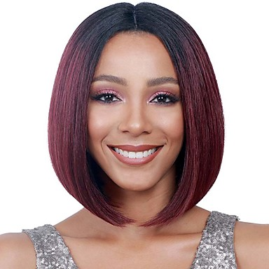 Synthetic Wig Straight Bob Haircut Synthetic Hair Middle Part Bob / Ombre Hair Black Wig Women's Medium Length Capless