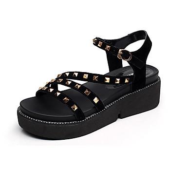 Naisten Kengät Synteettinen Kesä Comfort Sandaalit Pyöreä kärkinen varten Kausaliteetti Musta