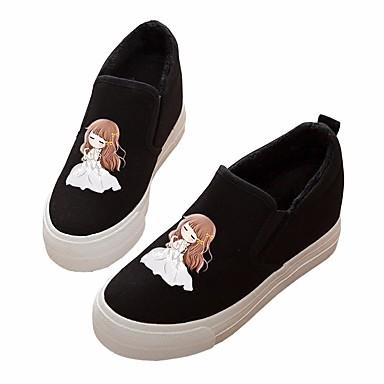 Damen Flache Schuhe Komfort Frühling Leinwand PU Normal Weiß Schwarz Flach