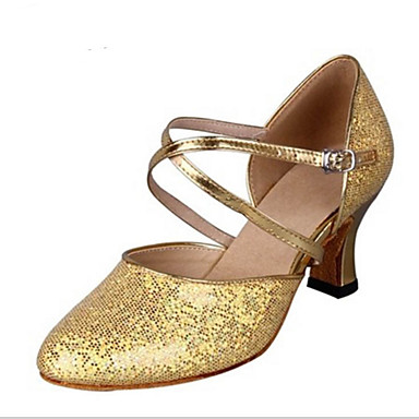 Mulheres Latina Gliter Salto Interior Presilha Dourado Prata 2