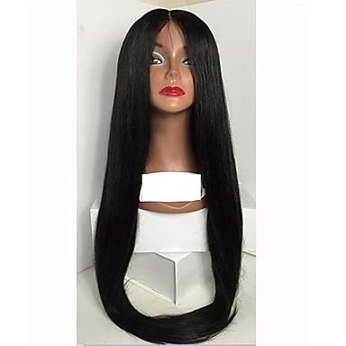 Aidot hiukset Lace Front / Liimaton puoliverkko Peruukki Suora 130% Tiheys Luonnollinen hiusviiva / Afro-amerikkalainen peruukki / 100% käsinsidottu Naisten Lyhyt / Keskikokoinen / Pitkä