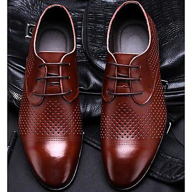 Miehet kengät Nahka Kevät Oxford-kengät Käyttötarkoitus Musta Tumman ruskea