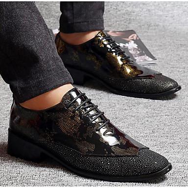 Miehet kengät Synteettinen mikrokuitu PU Kevät Comfort Oxford-kengät Käyttötarkoitus Kausaliteetti Musta Keltainen Burgundi