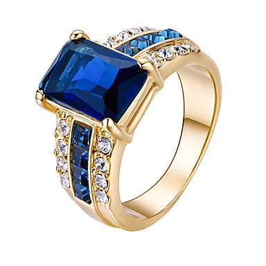Damen vergoldet Ring - Quadratisch Euramerican / Modisch Königsblau Ring Für Party / Geburtstag / Alltag