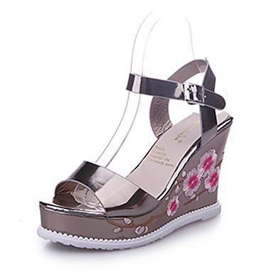 Mujer Zapatos PU Verano Confort Sandalias Media plataforma Blanco / Plata Indemnité De Vente Pas Cher Avec Paypal FtIKQf0