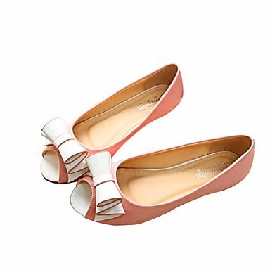 Naiset Sandaalit Comfort Kesä PU Kausaliteetti Tasapohja Valkoinen Pinkki Musta/valkoinen Tasapohja