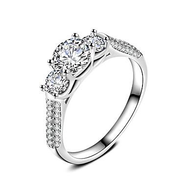 Dámské Prsten Zásnubní prsten Kubický zirkon Klasické Módní Elegantní Zirkon Postříbřené Circle Shape Šperky Pro Svatební Párty