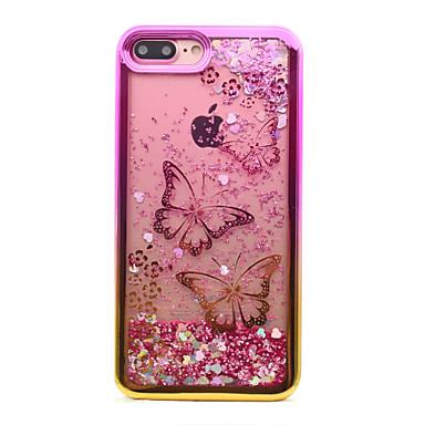 Capinha Para Apple iPhone 8 iPhone 8 Plus Galvanizado Liquido Flutuante Estampada Capa traseira Borboleta Glitter Brilhante Macia TPU para