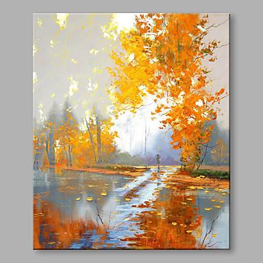 Pintura a Óleo Pintados à mão - Paisagem Abstracto / Moderno / Contemporâneo Tela de pintura / Lona esticada