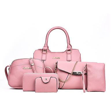 Damen Taschen Ganzjährig PU Bag Set für Schwarz Rote Grau Rosa Braun