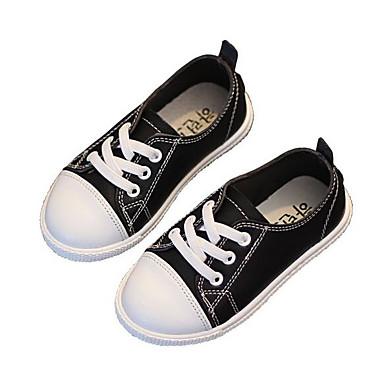 Mädchen Schuhe Leder Gummi Frühling Herbst Lauflern Sneakers Walking Niedriger Absatz Runde Zehe Klettverschluss Für Normal Weiß Schwarz