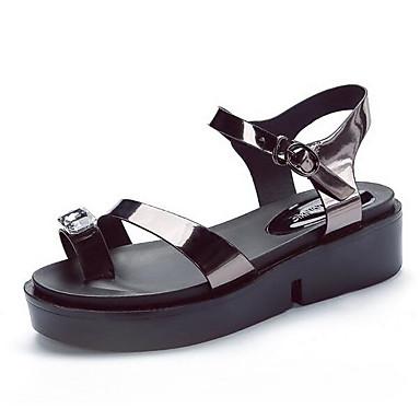 Damen Sandalen Lackleder Frühling Schwarz Silber Grau Flach
