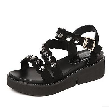 Naiset Sandaalit Comfort Kevät Mokkanahka Kausaliteetti Musta Tasapohja