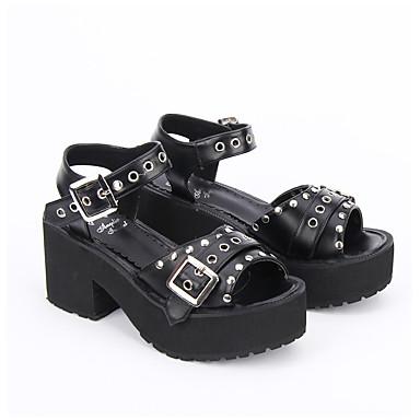 Schuhe Gothik Punk Vintage Inspirationen Handgemacht Lolita Blockabsatz Volltonfarbe Lolita Aushöhlung 8 CM Schwarz Weiß Für PU-Leder PU