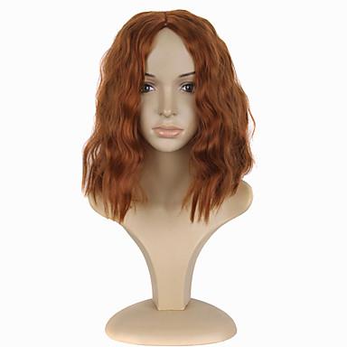 الاصطناعية الباروكات مجعد شعر مستعار صناعي شعر مستعار نسائي متوسط دون غطاء برتقالي