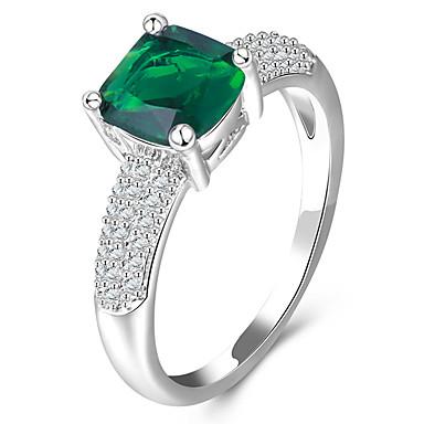 Dámské Prsten Syntetický diamant Luxus Klasické Základní Módní Euramerican minimalistický styl Bristké Měď Pokovená platina Sklo