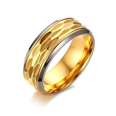 Homens Anel - Aço Titânio, Chapeado Dourado Vintage, Estilo simples, Elegante 9 / 10 / 11 / 12 Dourado Para Casamento Festa / Noite Obrigado / Diário