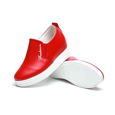 Naisten Kengät Kangas Kevät Syksy Comfort Mokkasiinit Kävely Tasapohja Pyöreä kärkinen varten Kausaliteetti Musta Tumman punainen