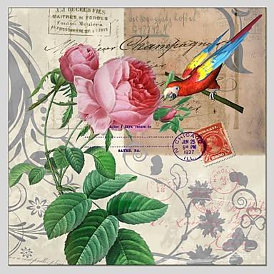 Maalattu Kukkakuvio/Kasvitiede Neliö, Abstrakti Kangas Hang-Painted öljymaalaus Kodinsisustus 1 paneeli