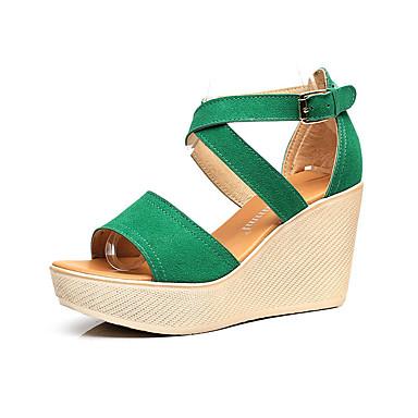 Damen Schuhe Kunststoff Sommer Sandalen Keilabsatz Peep Toe für Schwarz Rot Grün