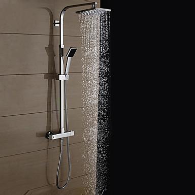 Shower Faucet - Contemporary Chrome Shower System Ceramic Valve / Brass / Two Handles Two Holes