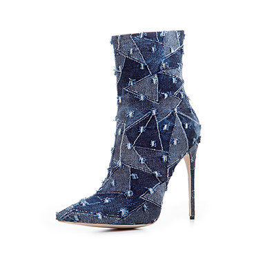 Damen Schuhe Stoff Sommer Herbst Modische Stiefel Stiefel Spitze Zehe Für Normal Dunkelblau Hellblau