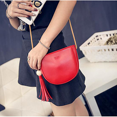 Women Shoulder Bag PU All Seasons Casual Outdoor Round Zipper Black Red