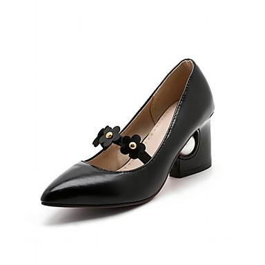 Mulheres Sapatos Sintético Couro Ecológico Verão Outono Conforto Inovador Saltos Caminhada Salto Robusto Dedo Apontado Flor para