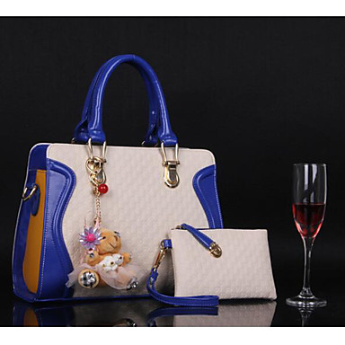 Women Bags All Seasons PU Tote for Casual Outdoor Blue Fuchsia