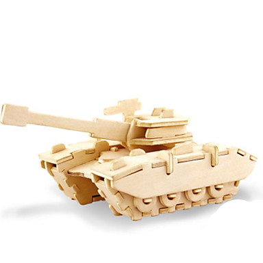 3D Puzzles Jigsaw Puzzle Metal Puzzles Wood Model Model Building Kit Tank 3D DIY Wood Natural Wood Kid's Adults' Boys' Unisex Gift