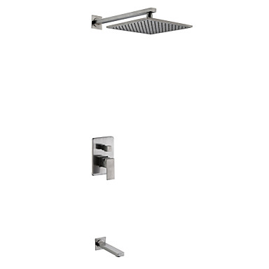 Shower Faucet Nickel Brushed Wall Mounted Ceramic Valve / Brass / Two Handles Three Holes