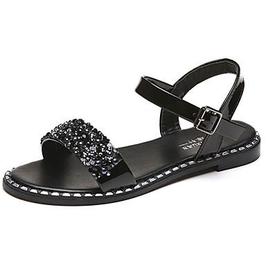 Naisten Kengät Kumi Kesä Comfort Sandaalit Kävely Matala korko Soljilla varten ulko- Valkoinen Musta